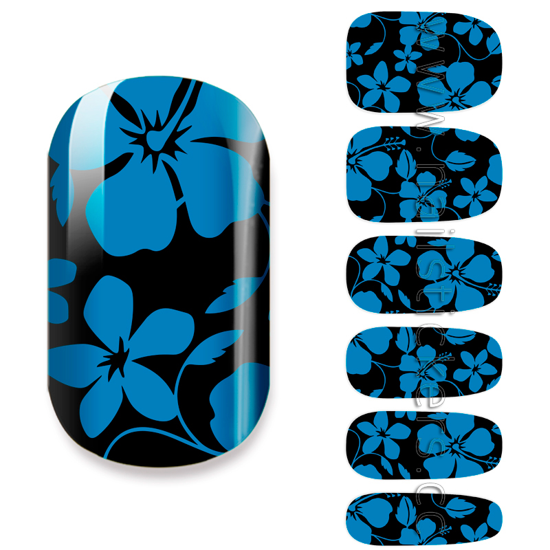 BLACK AND BLUE FLOWER NAIL NAIL ART DESIGN