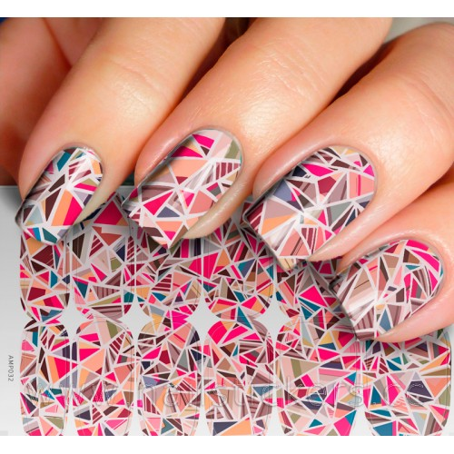COLORFUL TRIANGLE MOSAIC NAIL ART JAMBERRY NAIL WRAPS