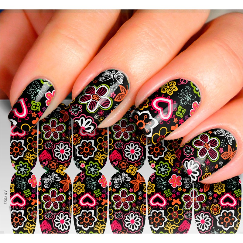 ABSTRACT NAIL ART FLOWER DESIGN NAIL STICKER FOR WHOLESALE