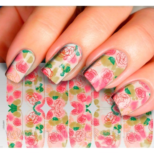 PINK FLOWER HOLIDAY NAIL ART STICKER