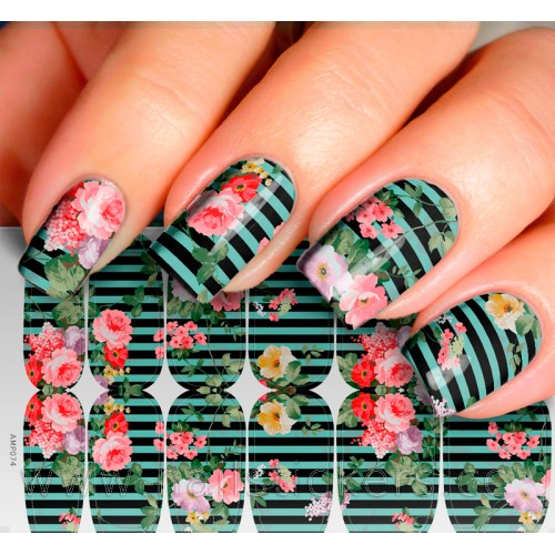 FLOWER NAIL ART WITH BLACK STRIPS MIXED MANI WRAP