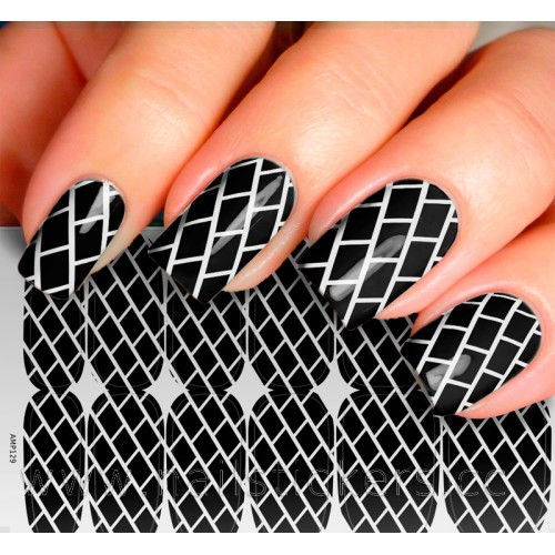 BLACK BRICKS NAIL WRAP FOR MANICURE
